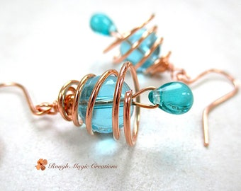 Blue Bell Earrings, Copper Spiral Cages, Clear Aqua Glass Teardrop Dangle Drops, Casual Everyday Jewelry E491