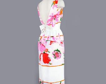 1960's Backless Floral Bombshell  Dress - MED