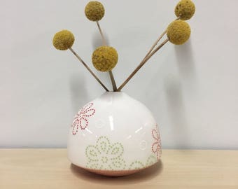 handmade porcelain bud vase: Dot Dot Floral by Meredith Host in Pink, flower print, small vase, small gift, housewarming, polka dots, red