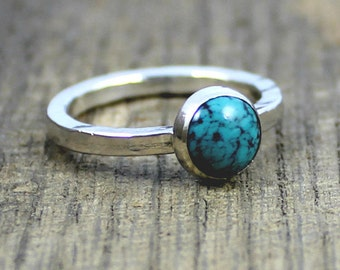 READY TO SHIP - Sterling Turquoise Stacker Ring - Size 7.75