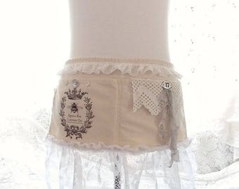 Shabby Rustic Chic Romantic Queen Bee Tattered and Vintage Lace Vendor Craft Apron