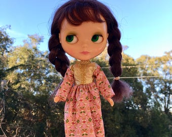 Groovy Pink Floral Mod Maxi Blythe Doll Granny Dress (with Gold Bodice)