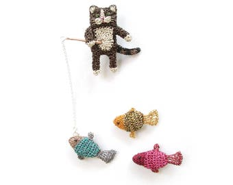 Cat fishing brooch set, cat brooch and three interchangeable fish brooches - cat jewelry, animal brooches