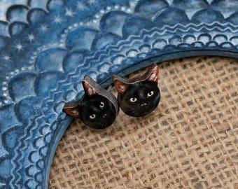 Black Cat Earrings, Illustration Post Earrings, wood Jewelry