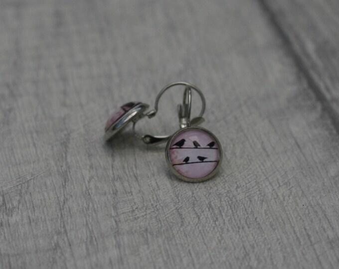 Bird Earrings, Illustration Jewelry, Dangle Earrings, Animal Jewelry