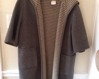 REVERSIBLE Vintage Houndstooth Wool Coat