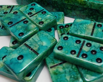 Dominoes 'Tropical Seas' Hand Painted 28 Piece Professional Size Double Six in Hand Painted Storage Box, alcohol inks, instructions, green