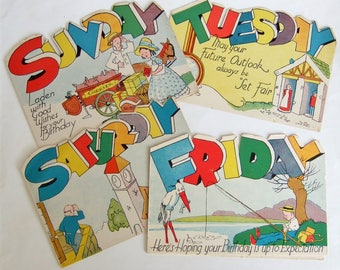 Four Birthday Cards with Days of the Week - 1940s Vintage Cards with Sweet and Quirky Illustrations