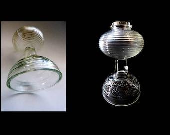 1930s Antique Vintage Clear Pressed Glass Kerosene Hurricane Lantern Table Lamp Ribbed Font Flower Design on Pedestal Base Farmhouse Chic