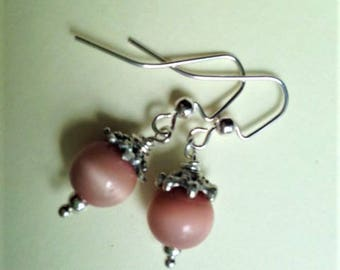 Beige Cats Eye Earrings , Mauve Pink Earrings, Pale Pink Beige Cats Eye and Silver Earrings