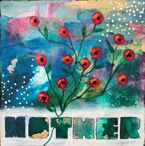 Mothers Day Gift Original Painting on Wooden Panel Colorful Whimsical Flowers Floral