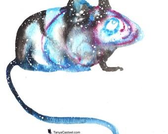 Mouse ORIGINAL Watercolor 9X12, Galaxy Spirit Animal