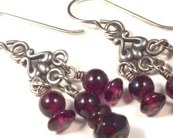 Garnet Earrings, Garnet Hanging Earrings, Garnet Drop Earrings, Chandelier Earrings, Red Earrings, Garnet Silver Earrings