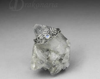 Twig ring - moonstone, sculpted flowers and twigs, silver flowers, moonstone ring, sterling silver, boho, limited collection