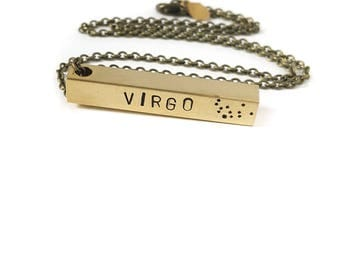 Virgo Zodiac Bar Necklace, Constellation Necklace, Zodiac Jewelry, Brass, Unisex, Long Necklace, Zodiac Gift, September Birthday