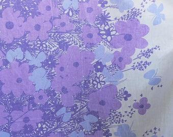 Vintage 60s Vera Neumann Purple Floral White Border Butterfly Print King Flat Bed Sheet Fabric Marimekko