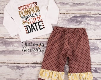 NEW Mommys Pumpkin Spice Latte Date Shirt Fall Thanksgiving Outfit, Baby Toddler Girl Clothes, Top Ruffle Pants Set, Brown