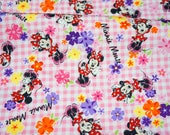 Disney licensed Minnie mouse with Flowers and pink gingham background fabric half meter 19.6 by 42 inches