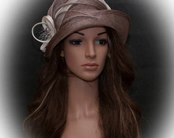Brown, cafe latte colour upbrim cloche hat for women- Size Small 55-56cm- Ready for immediate shipping