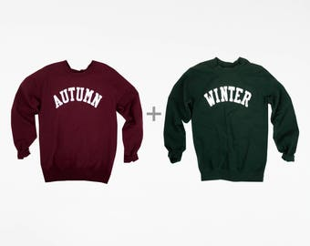 Seasons Crewneck Combo / Autumn Fall Winter Lettering Crewneck Sweatshirt,  / Autumn and Winter