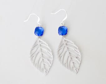 Cobalt blue leaf Earrings | Dangle | blue, filigree, nature, beach-inspired,  blue glass, charm jewelry | Handmade in Santa Cruz
