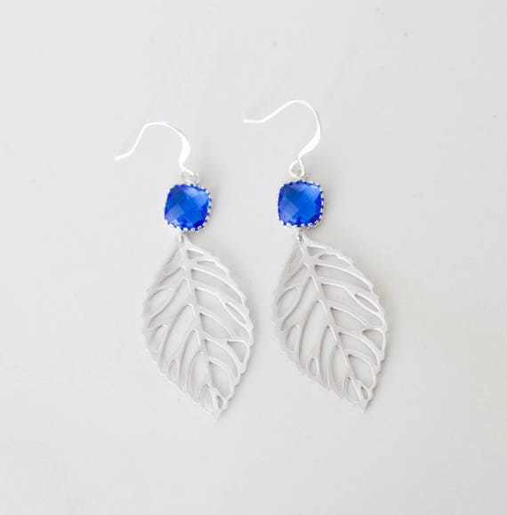 Cobalt blue leaf Earrings