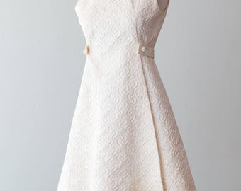 """Vintage 1960s Dress - Elegant Ivory 60s Mini Dress w/ Textured Fabric and Rhinestone Details by I.MAGNIN & Co. // Waist up to 28"""""""