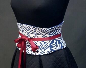 Blue and White Corset Waist Cincher Obi Belt