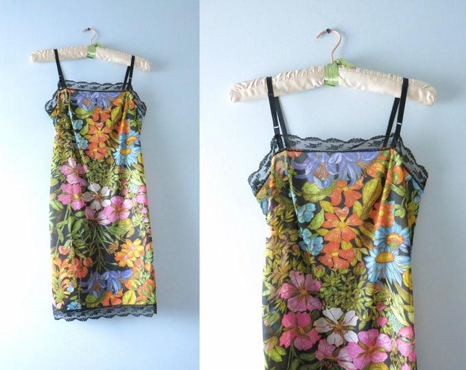 Vintage Floral Slip Dress | 1970s Black Lace Floral Print Full Slip Dress XS