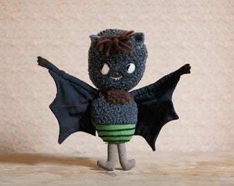 Bat. GREEN. One-of-a-kind handmade art doll. Soft sculpture. Collectible Waldorf Doll. Anthropomorphic Bat Rag Doll.