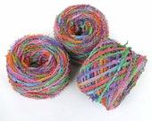 Hand Dyed Cotton Yarn Worsted Weight Tape Fringe Yarn Jewel Rainbow Novelty DIY Crafts Kids Yarn 218 yards - Autumn Splash