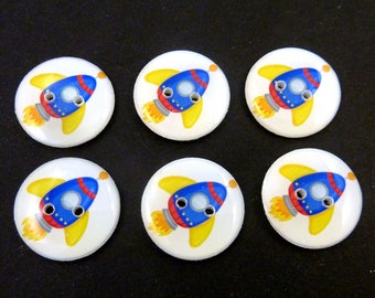 "6 Blue Rocket or Space Ship Buttons. 3/4"" or 20 mm Handmade Buttons."