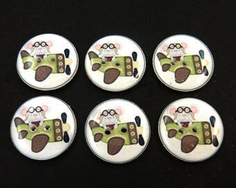 "6 Airplane Mouse Buttons. 3/4"" Aviator Mouse Sewing Buttons.  3/4"" or 20 mm Round.  Washer and Dryer SAfe."