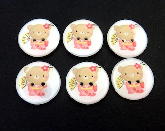 "Cute Bear  Buttons.  Set of 6 handmade Asian or Japanese Bear Sewing buttons. 3/4"" or 20 mm.  Washer and Dryer Safe."