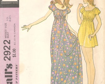 McCalls 2922 1970s Misses Easy Nightgown and Baby Doll Pajamas Pattern Hippie Boho Womens Vintage Sewing Pattern Size 10 Bust 32