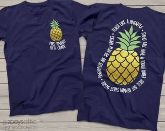team Teacher shirts - teach like a pineapple gold foil personalized DARK tshirt  MSCL-042v