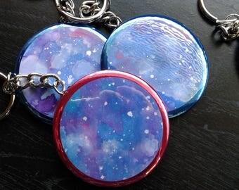 "Space, Galaxy, Nebula key chains - 2"" key chain, hand painted, watercolor, art, NASA"