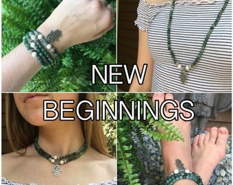 NEW BEGINNINGS - DIY Gemstone Mala Beads Kit - String Your Own Mala Beads