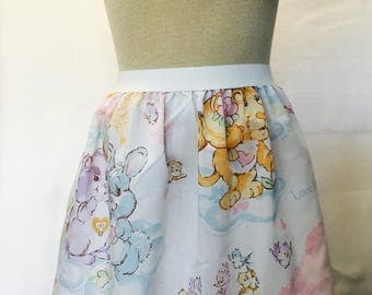 "Care Bear Cousins Ladies Skirt from upcycled  vintage fabric - - 36"" - 42"" waist"