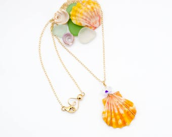 Hawaiian Sunrise Shell Necklace, Handmade, Layering, 14k Gold Filled, Simply Me Jewelry Hello Sparkle Sunne Necklace, SMJNK407