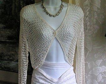 Vintage Crochet Bolero Jacket - Long Sleeved Bolero Top - Kroshetta by Papillon - Cream White Ecru -Size M