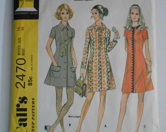 Vintage 70s Misses Front Button Coat Dress Sewing Pattern McCalls 2470 Size 14 Bust 36