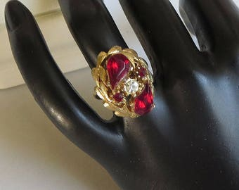 Red and Clear Rhinestone Ring Vintage Adjustable