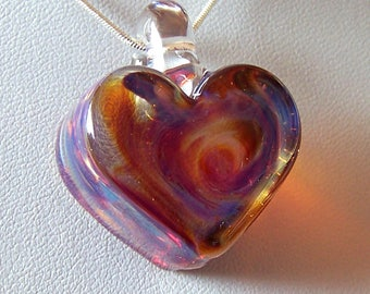 Pale Purple & Clear Solid Glass Heart Pendant -  Lampwork Glass With Gold Dichroic