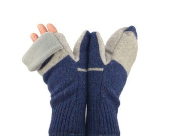 Mens Convertible Flip Top Mittens in Blue and Grey - Recycled Wool - Fleece Lined