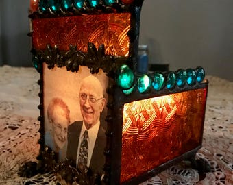 Custom - Your Photo - Gothic Stained Glass Candle Holder