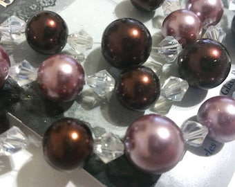 44 Pieces 7mm and 10mm Mixed Brown Bronze Pearl & Crystal Bead Mix Glass Pearls Glass Beads Crystal Bead Mix