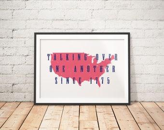 American Printable, American Home Decor, July 4th Wall Art, July 4th Prints, Rustic Printable, Patriotic Printable, Funny Printable