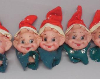 Kitschy Vintage Elf Heads - Doll Making, Xmas Ornaments, Christmas Decor, Floral Arrangement, Etc. - Cute, Kawaii, Retro