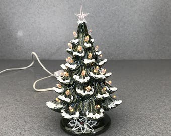 CHRISTMAS TREE  Small Green With Snow  Clear twist 7 inch Ceramic traditional table top  decoration  light with snap in cord #011218snap